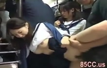 Asian schoolgirls groped and fucked in a bus
