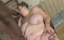 Huge slut groped and face fucked by a black dude