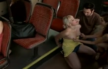 Blonde girl stripped and groped in public places