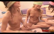 Blindfolded lesbians have fun