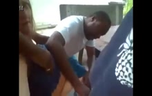 3 black guys groping white girl