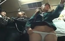 Japanese teen giving a blowjob after getting groped