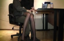 Sexy legged secretary groped by her boss