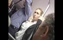 Horny blonde groped for an orgasm in the bus