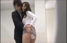 Hot ass Asian secretary groped by her boss