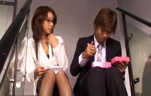 Asian secretary groped and finger fucked