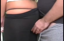 Public ass grope and cumshot