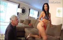 Casandra Cruz gets her feet licked