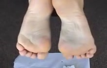 Wrinkled soles blasted with lotion